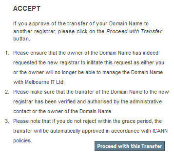 Transfer approval form from losing registrar
